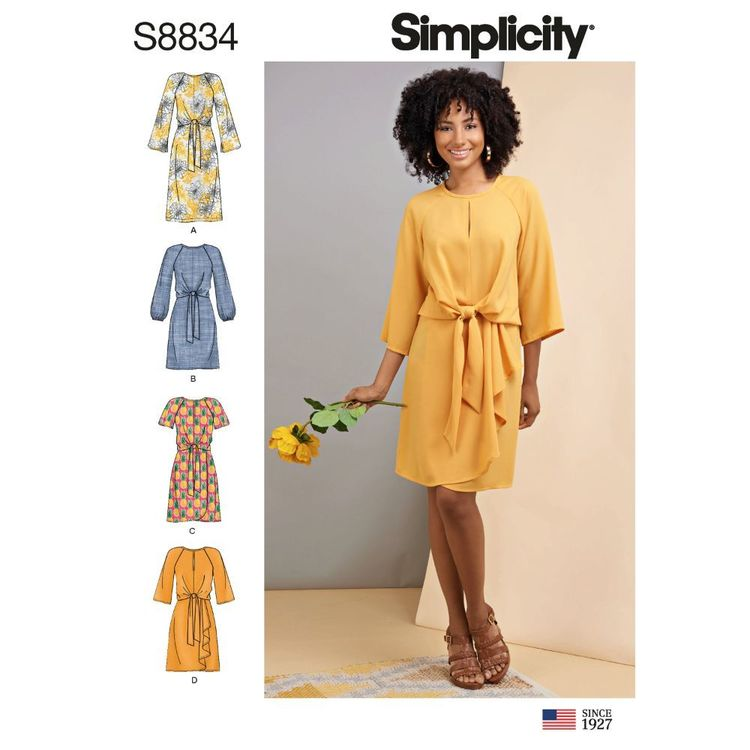 Simplicity Sewing Pattern S8834 Misses' Tie-Front Dress