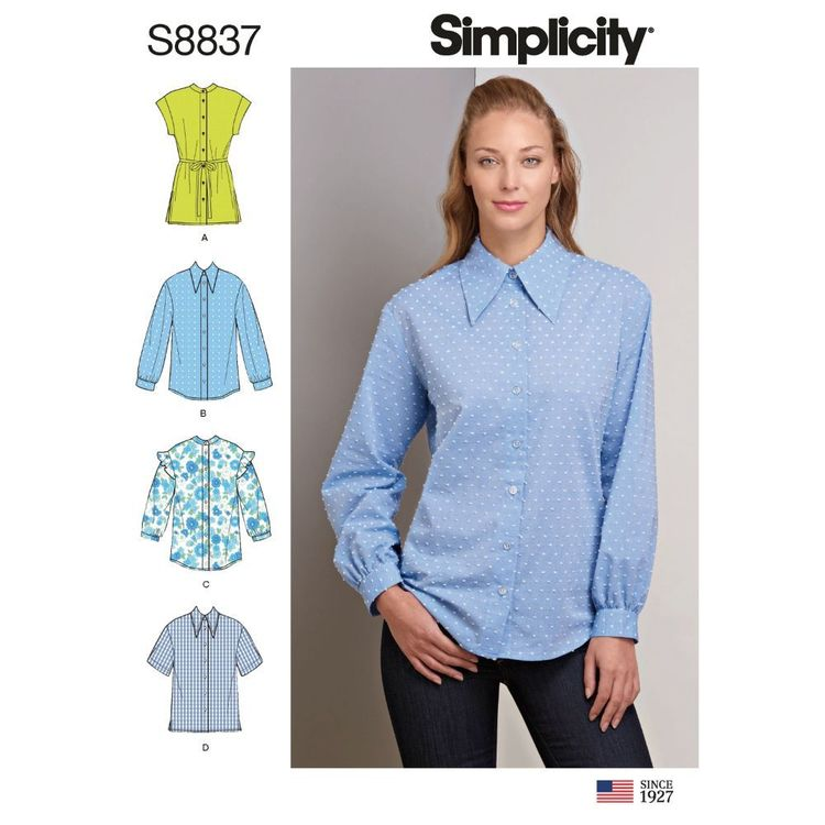 Simplicity Sewing Pattern S8837 Misses'/Miss Petite Collared Shirt