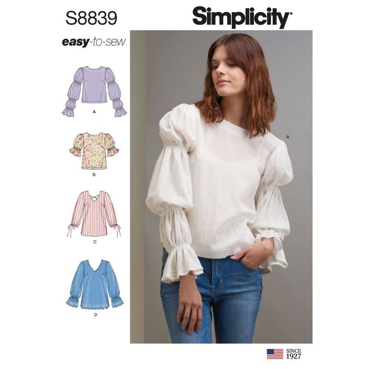 Simplicity Sewing Pattern S8839 Misses' Pullover Tunics and Tops