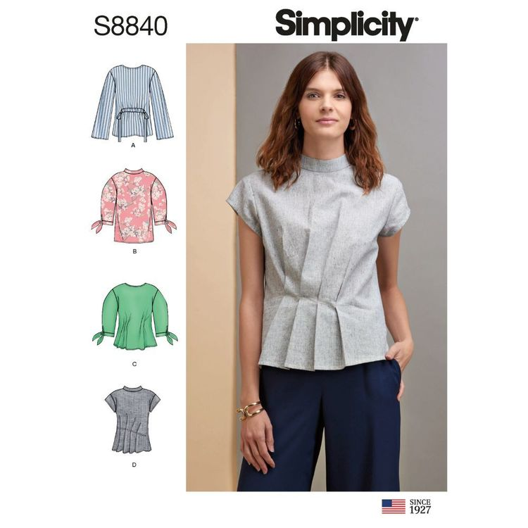 Simplicity Sewing Pattern S8840 Misses' Top with Length, Front, and Sleeve Variations