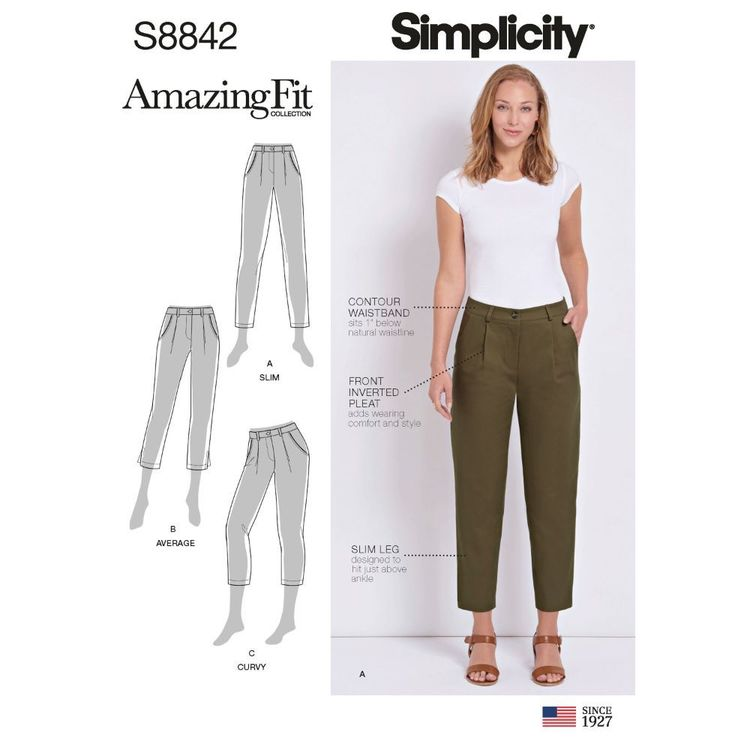 Simplicity Sewing Pattern S8842 Misses'/Miss Petite Amazing Fit Pants