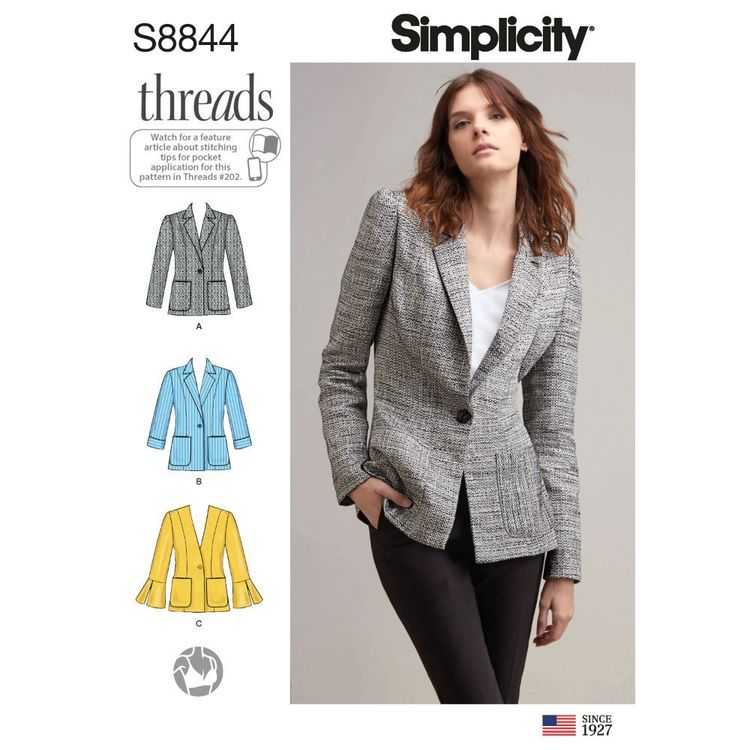 Simplicity Sewing Pattern S8844 Misses'/Miss Petite Unlined Blazer