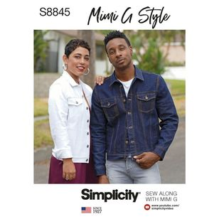 Simplicity Sewing Pattern S8845 Mimi G Misses', Men's and Teens' Jean Jacket