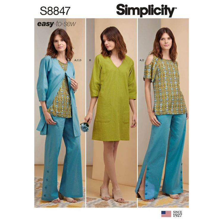 Simplicity Sewing Pattern S8847 Misses'/Miss Petite Tunic, Dress or Jacket, and Pants