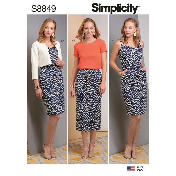 Simplicity Sewing Pattern S8849 Misses' Dress, Skirt, Top, and Jacket