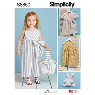 Simplicity Sewing Pattern S8850 Toddlers' Dress, Jumpsuit, Basket, and Toy