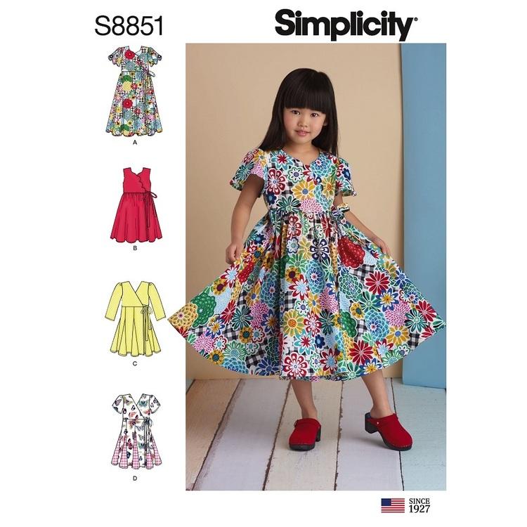 Simplicity S8851 Child Wrap Dress Pattern