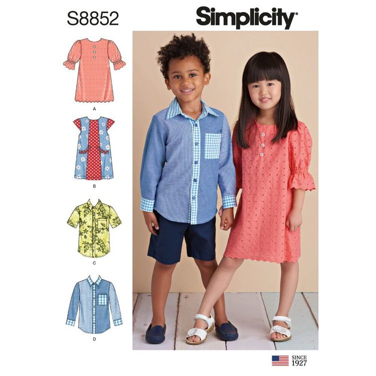 Simplicity Sewing Pattern S8852 Children's Dresses and Shirt