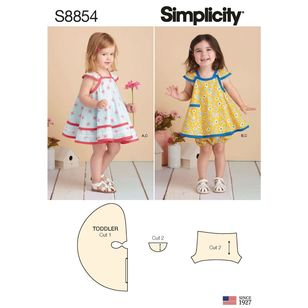 Simplicity Sewing Pattern S8854 Toddlers' Pinafore and Panties