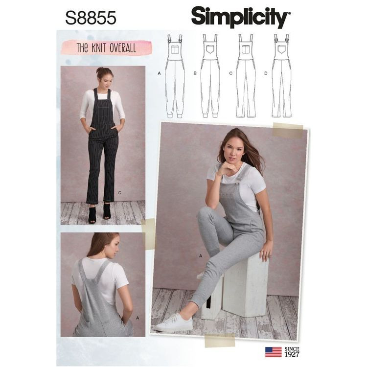 Simplicity Sewing Pattern S8855 Misses' Knit Overalls