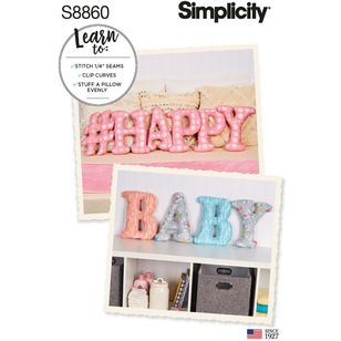Simplicity Sewing Pattern S8860 Letter, Number, Symbol Pillows