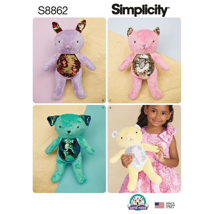 Simplicity Sewing Pattern S8862 Stuffed Animals