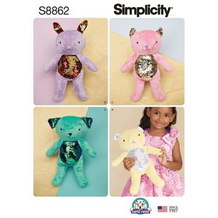 Simplicity Sewing Pattern S8862 Stuffed Animals