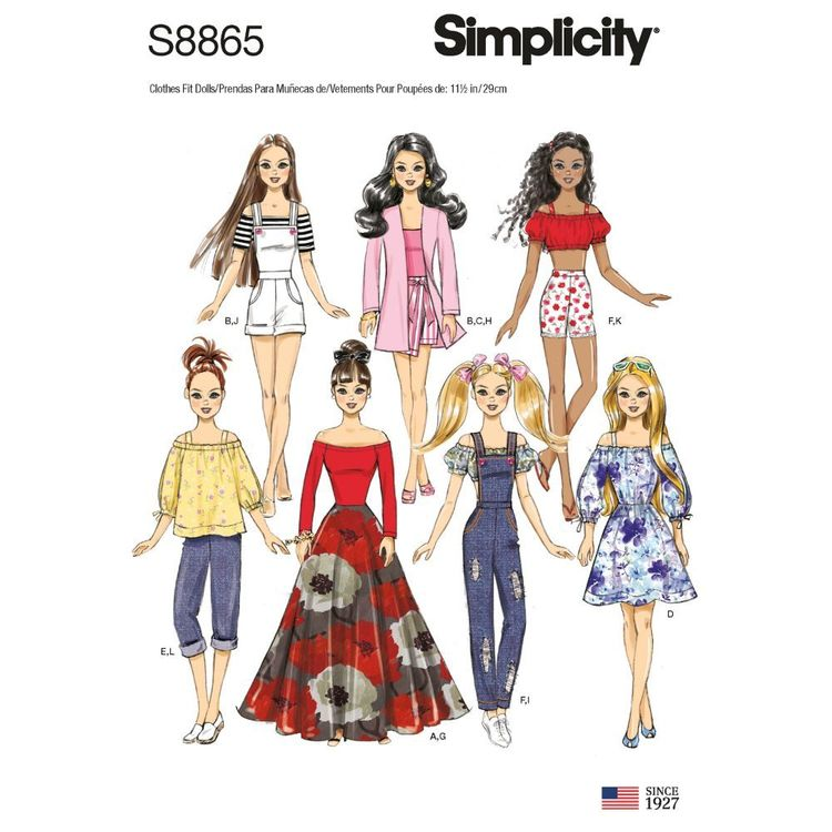 """Simplicity Sewing Pattern S8865 11 1/2"""" Fashion Doll Clothes"""