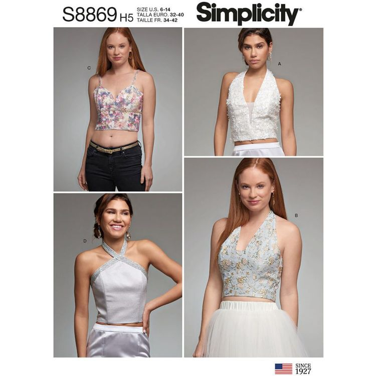 Simplicity Sewing Pattern S8869 Misses' Lined Tops