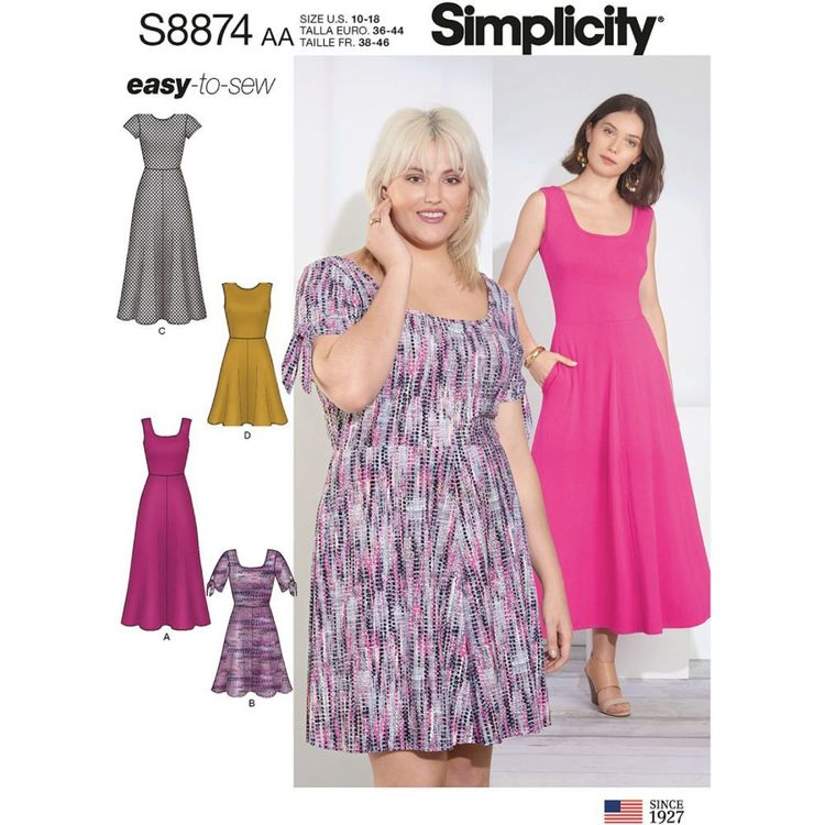 Simplicity Sewing Pattern S8874 Misses'/Women's Easy-to-Sew Knit Dress
