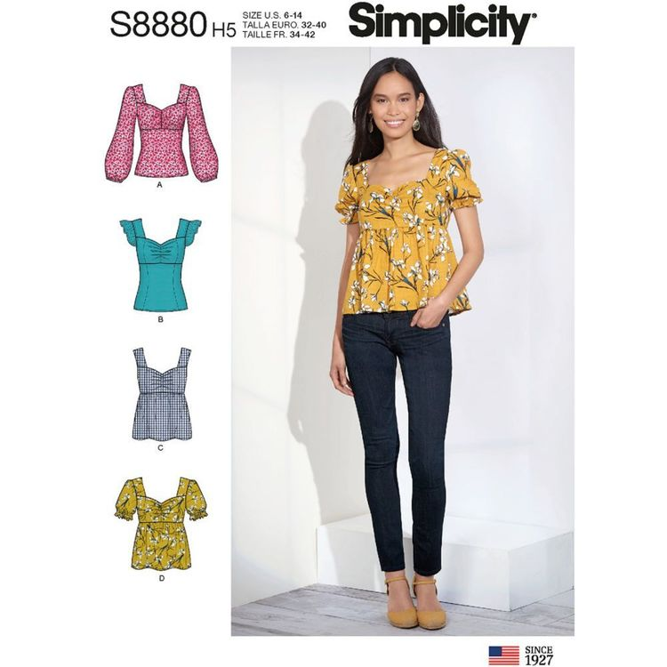 Simplicity Sewing Pattern S8880 Misses' Tops
