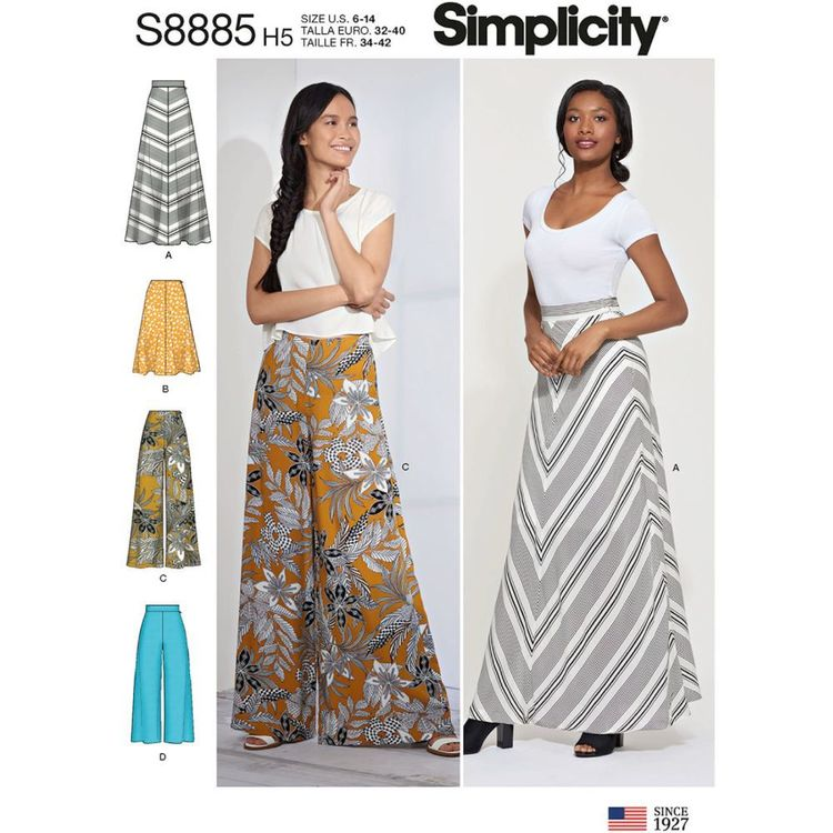 Simplicity Sewing Pattern S8885 Misses' Skirt and Pants