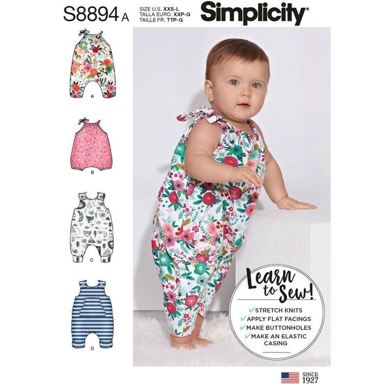 Simplicity Sewing Pattern S8894 Babies' Knit Romper