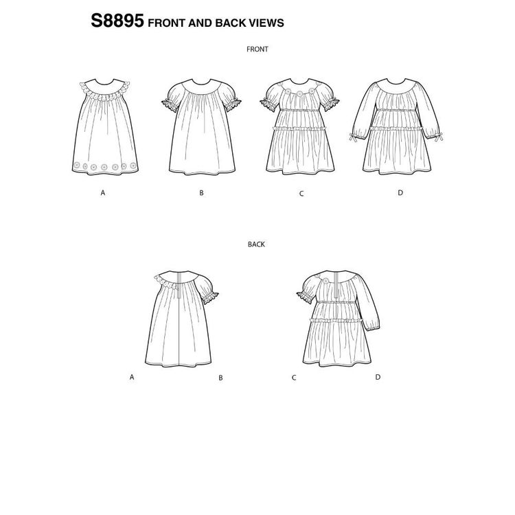 Simplicity Sewing Pattern S8895 Toddler's Dresses 6 Months - 4 Years