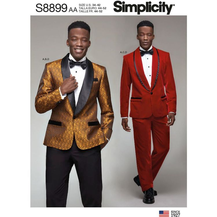 Simplicity Sewing Pattern S8899 Men's Tuxedo Jackets, Pants and Bow Tie