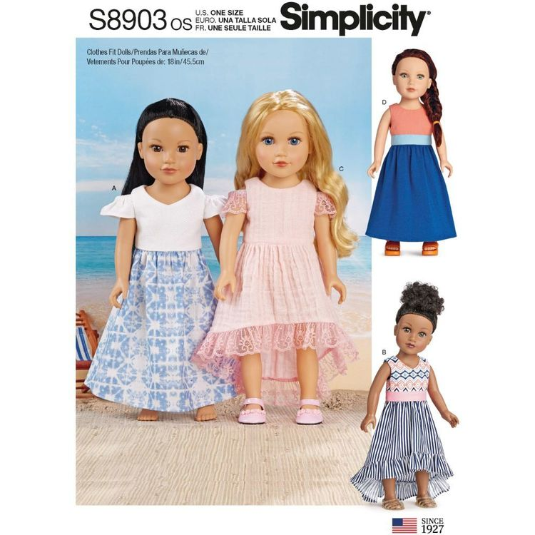 """Simplicity Sewing Pattern S8903 18"""" Doll Clothes"""
