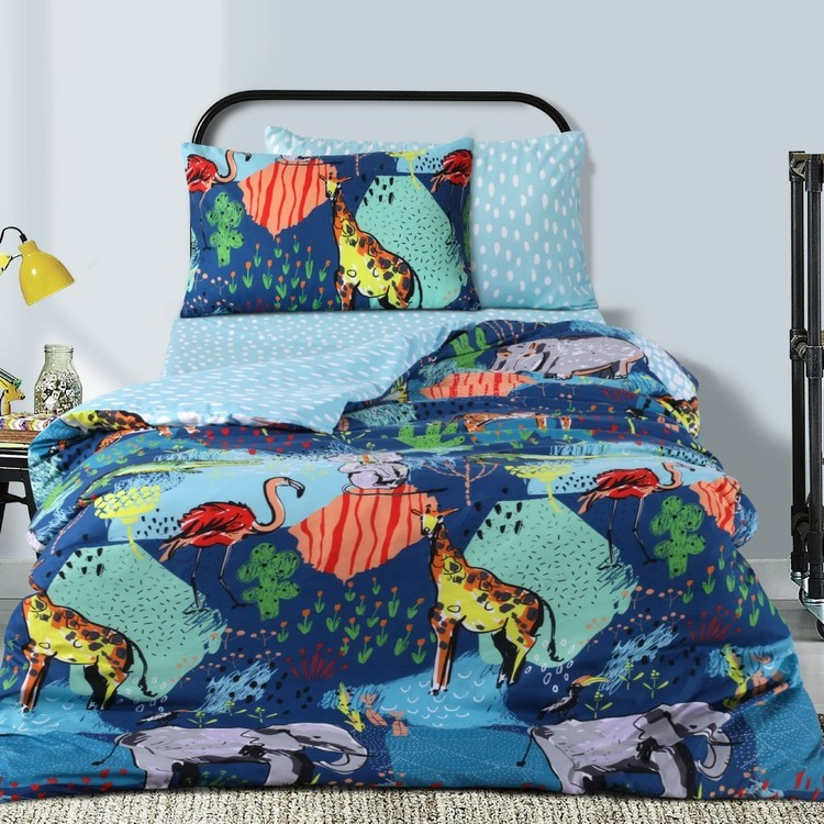 Ombre Blu Crazy Safari Quilt Cover Set