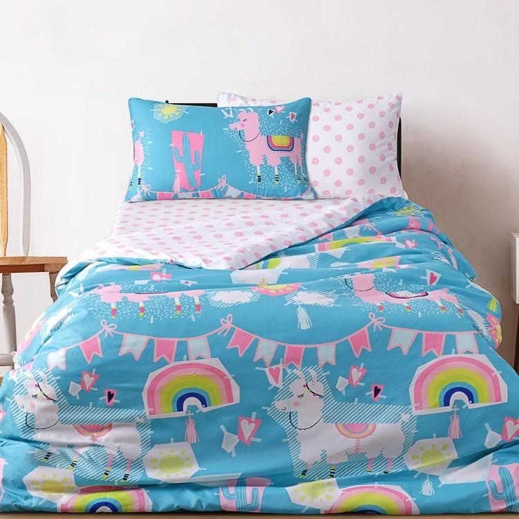 Ombre Blu Llama Rainbow Quilt Cover Set