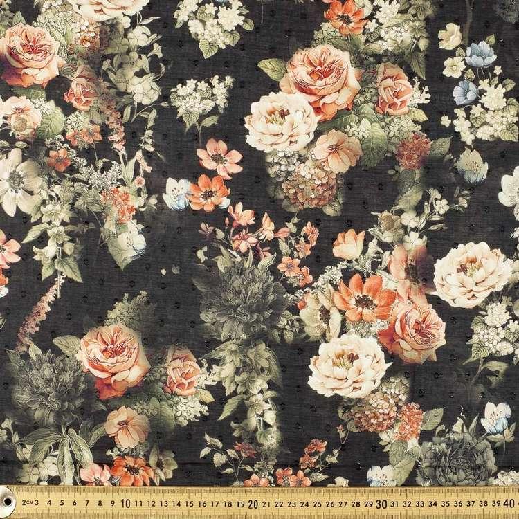 Quaint Rose Digital Printed 148 cm Swiss Dot Fabric