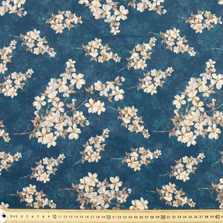 Cherry Blossom Digital Printed 148 cm Swiss Dot Fabric