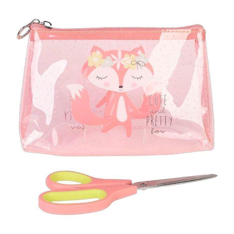 Fox Plastic Zip Pouch & Scissors