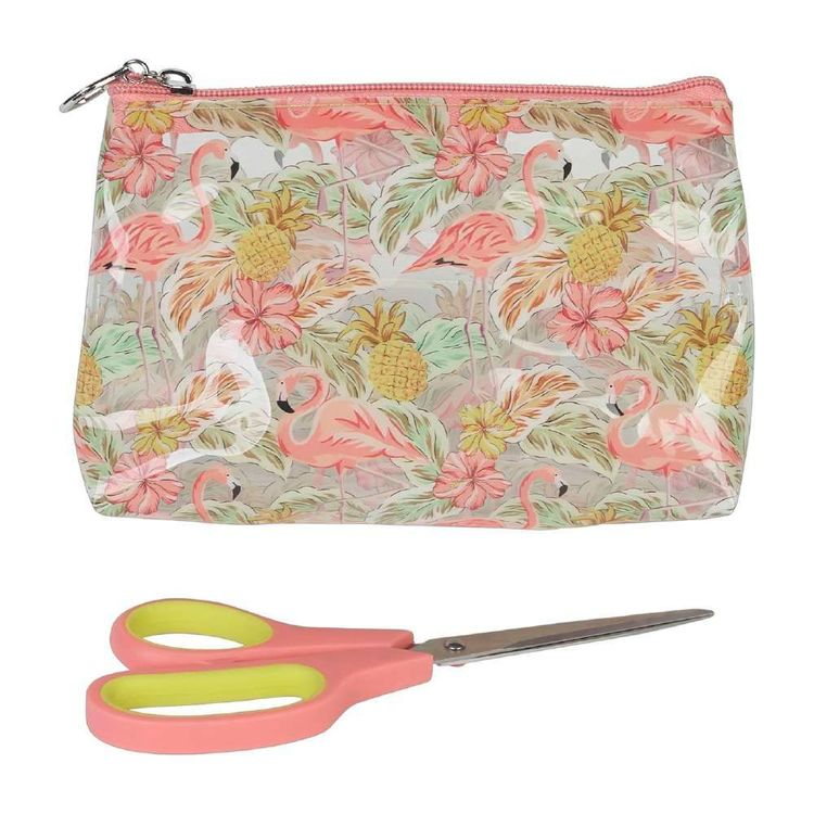 Flamingo Plastic Zip Pouch & Scissors