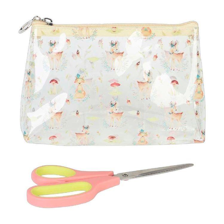 Deer Print Plastic Zip Pouch & Scissors