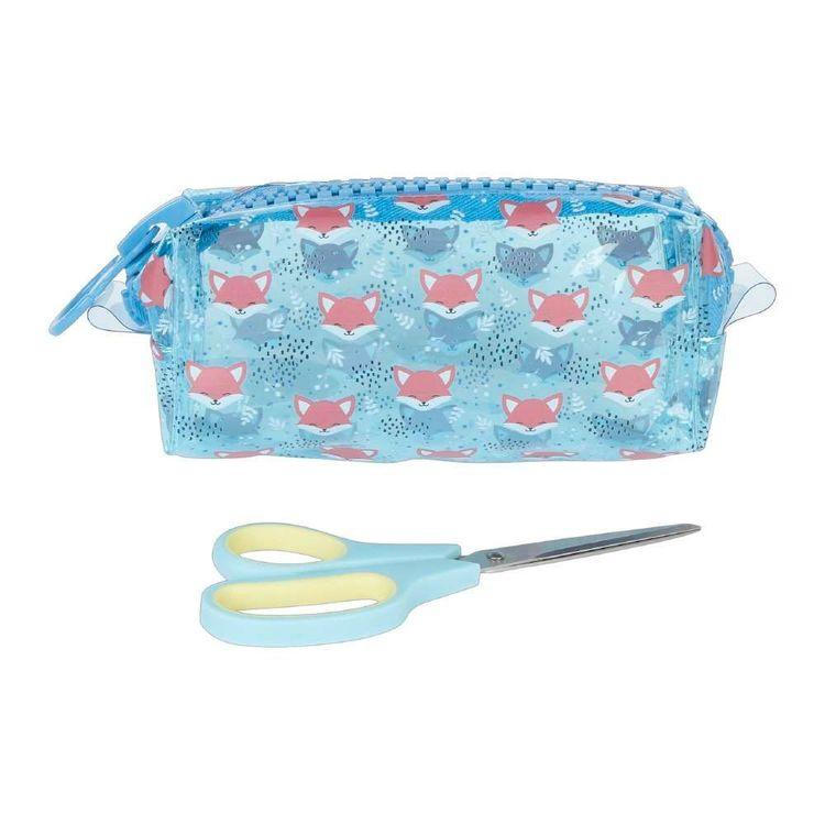 Fox Faces Plastic Zip Pouch & Scissors