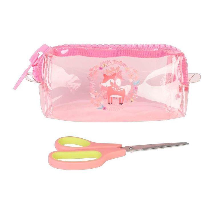 Deer Plastic Zip Pouch & Scissors