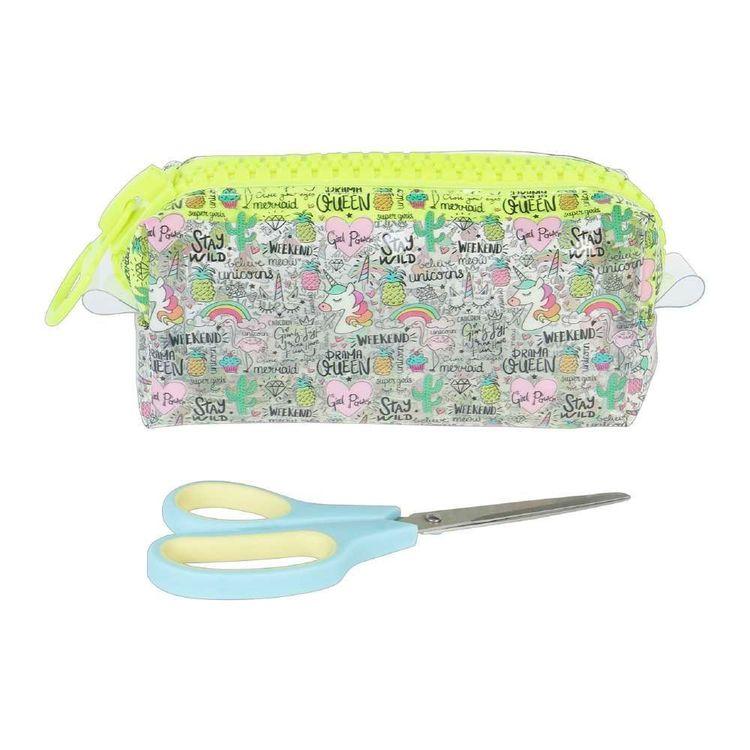 Cartoon Text Plastic Zip Pouch & Scissors