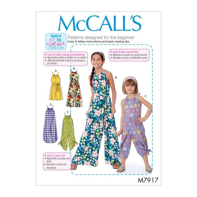 McCall's Pattern M7917 Kathryn Brenne Learn To Sew For Fun Children's and Girl's Romper, Jumpsuit and Belt
