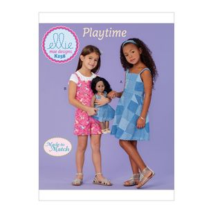 "Kwik Sew Pattern K0258 Ellie Mae Designs Made to Match Girl's Dress, Romper and 18"" Doll Dress"