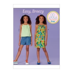 Kwik Sew Pattern K0259 Ellie Mae Designs Girl's Top, Dress and Shorts