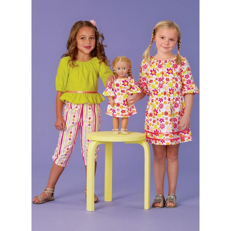 Kwik Sew Pattern K0261 Ellie Mae Designs Made to Match Girl's Dress, Top, Capris and 18