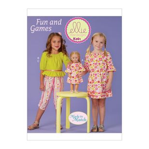 "Kwik Sew Pattern K0261 Ellie Mae Designs Made to Match Girl's Dress, Top, Capris and 18"" Doll Dress"