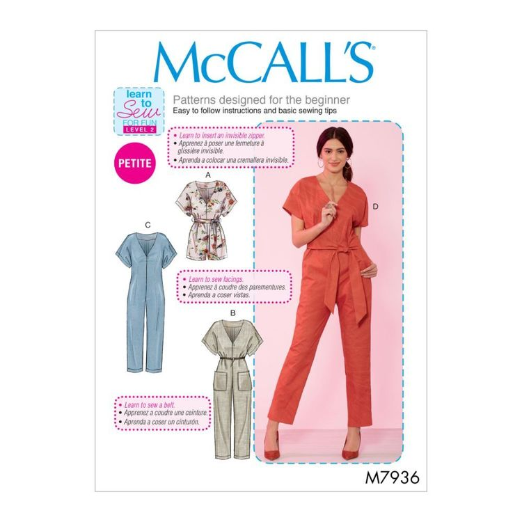 McCall's Pattern M7936 Learn To Sew For Fun Misses'/Miss Petite Romper, Jumpsuit and Belt