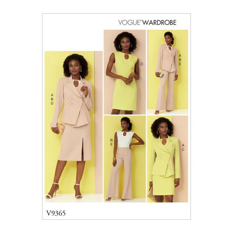 Vogue Pattern V9365 Vogue Wardrobe Misses' Jacket, Top, Dress, Skirt and Pants