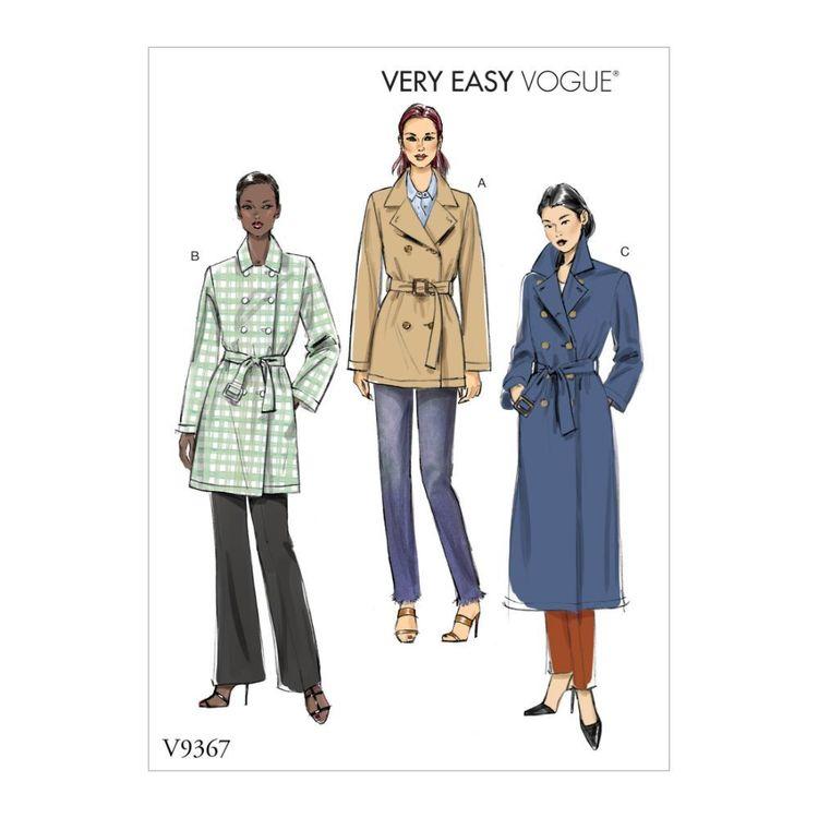 Vogue Pattern V9367 Very Easy Vogue Misses' Coat and Belt