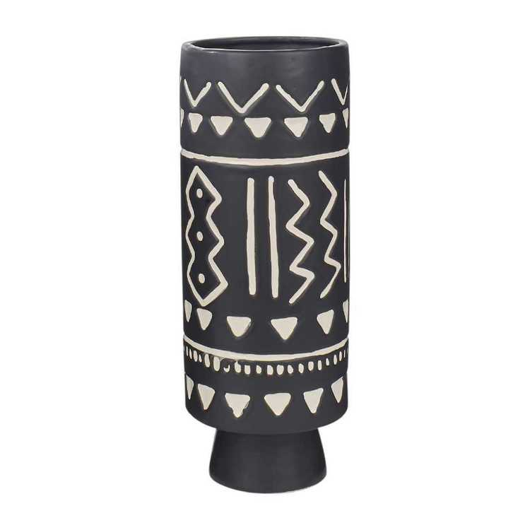 Living Space Monochrome Moment Tribal Vase #1 Black & White 11.5 x 30.5 cm