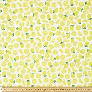 Glitter Lemon Printed Cotton Poplin Fabric