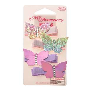 My Accessory Kids Glitter & Metallic Butterfly Duck Clip 4 Pack