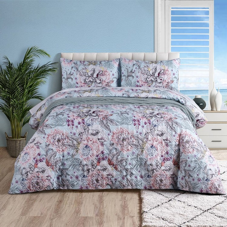 KOO Wildflower Quilted Quilt Cover Set Purple