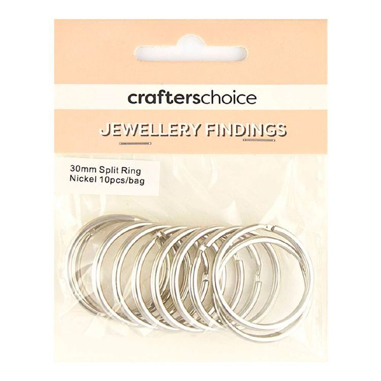 Crafters Choice Split Ring 10 Pack Silver 30 mm