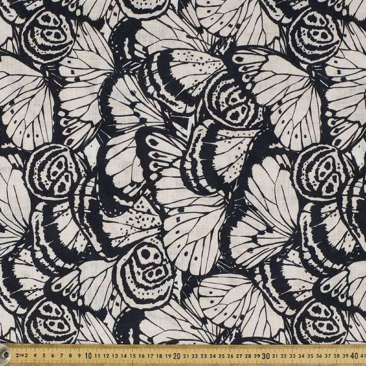 Big Butterfly Printed Digital Printed Slub Cotton Fabric